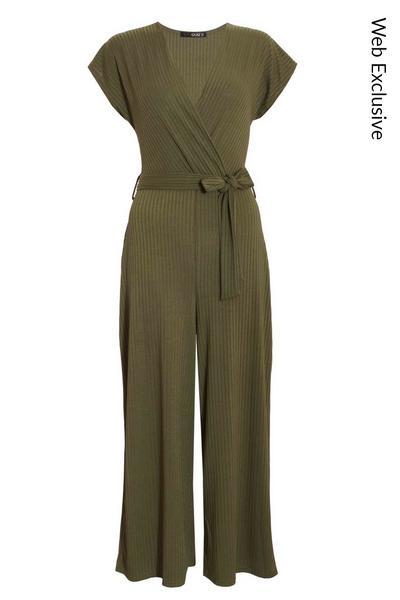 Khaki Ribbed Wrap Culotte Jumpsuit